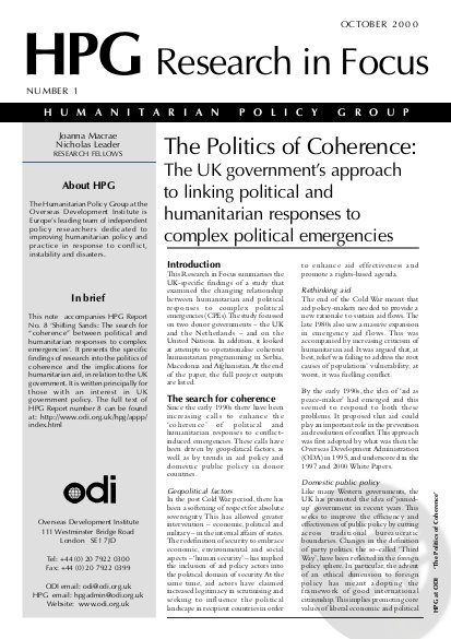 The Politics of Coherence: The UK Government's Approach to Linking