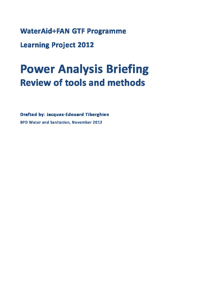 Power Analysis Briefing Review of tools and methods | ALNAP