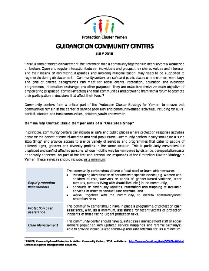 Protection Cluster Yemen: Guidance on Community Centers   ALNAP