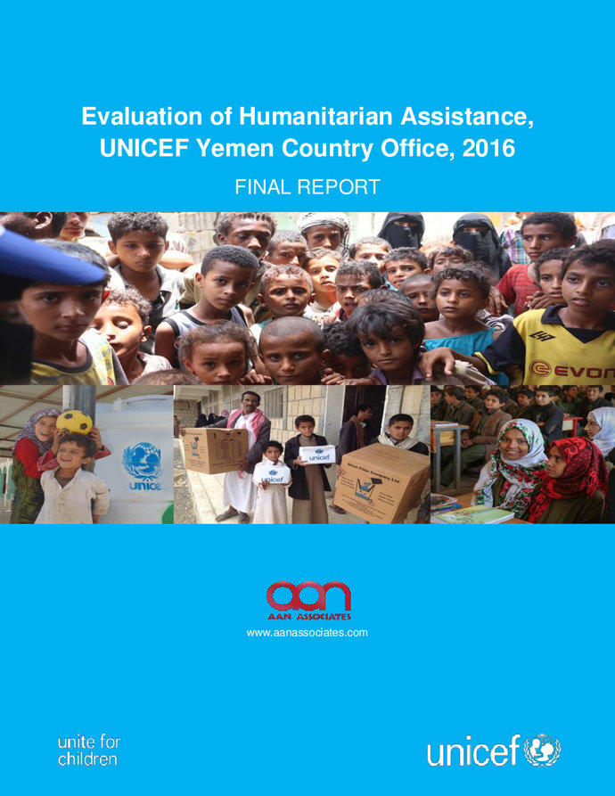 Evaluation of Humanitarian Assistance, UNICEF Yemen Country