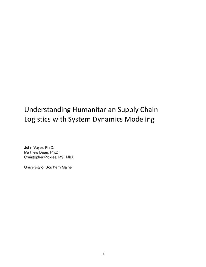 Understanding humanitarian supply chain logistics with