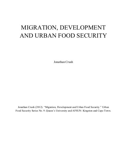 Migration, Development and Urban Food Security | ALNAP