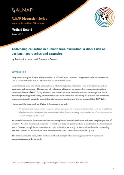 Addressing Causation In Humanitarian Evaluation A Discussion On