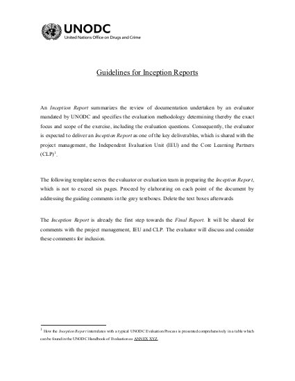 Guidelines for Inception Reports | ALNAP