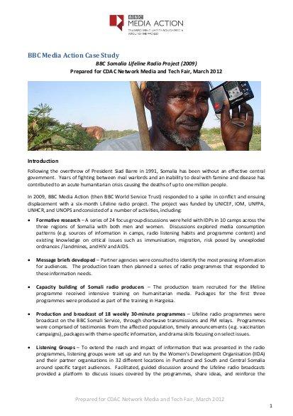 BBC Media Action Case Study: BBC Somalia Lifeline Radio