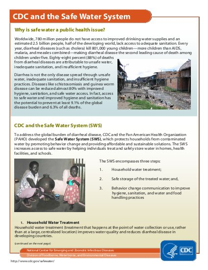 CDC and the Safe Water System | ALNAP