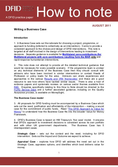 How to Note: Writing a Business Case: A DFID practice paper