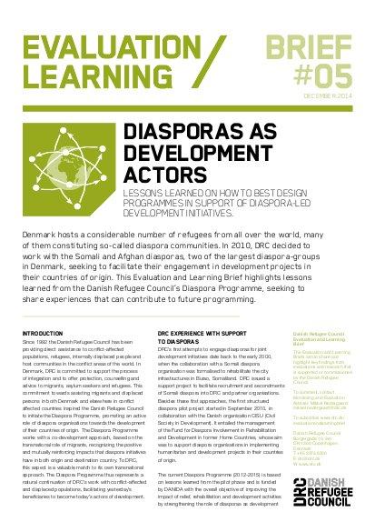 Evaluation/Learning Brief #5: Diasporas as development