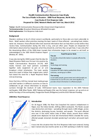 Health Communication Resources Case Study  The Use of Radio