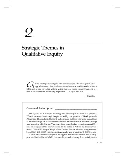 Strategic Themes in Qualitative Inquiry - Chapter 2 in Qualitative
