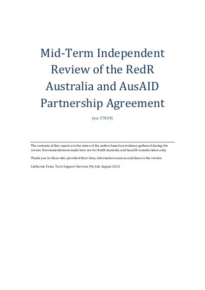 mid term independent review of the redr australia and ausaid