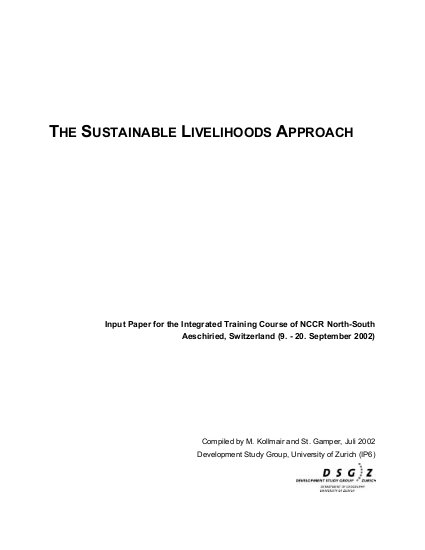 The Sustainable Livelihoods Approach - Input Paper for the