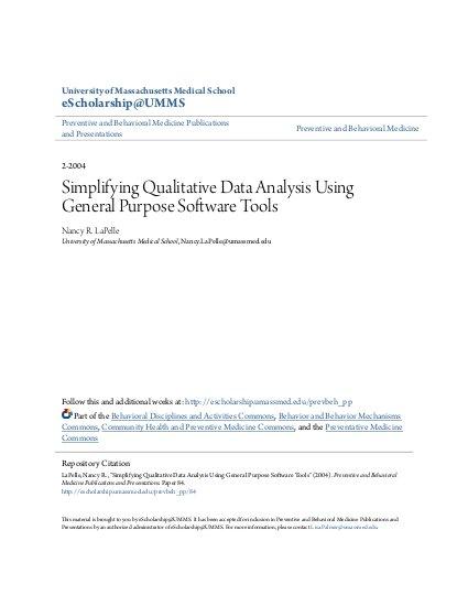 Simplifying Qualitative Data Analysis Using General Purpose