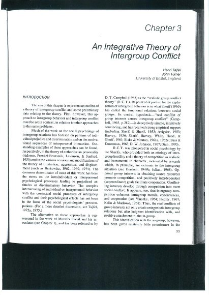 An Integrative Theory of Intergroup Conflict | ALNAP