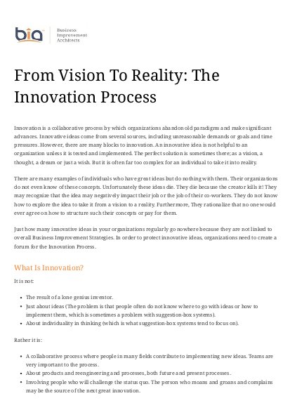 From Vision To Reality: The Innovation Process | ALNAP